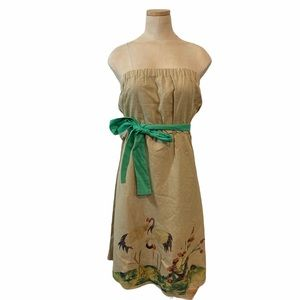 Knitted Dove linen dress strapless tan painted